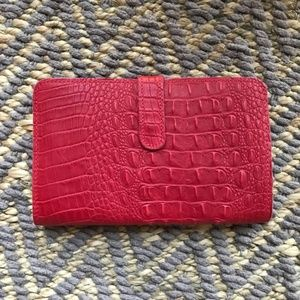Linea Pelle Red Croc Wallet